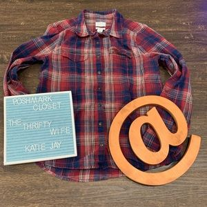 Caslon Fall Blue & Red Plaid Button up Top Size XS